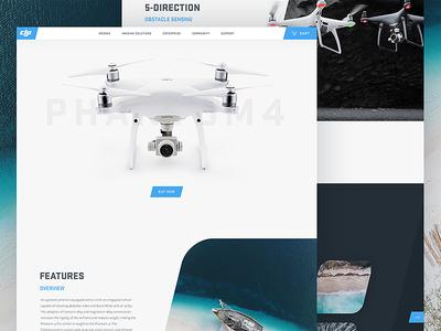 DJI Phantom Concept / Day 08 minimal clean dji drone portfolio home screen landing page user interface ux ui website web design