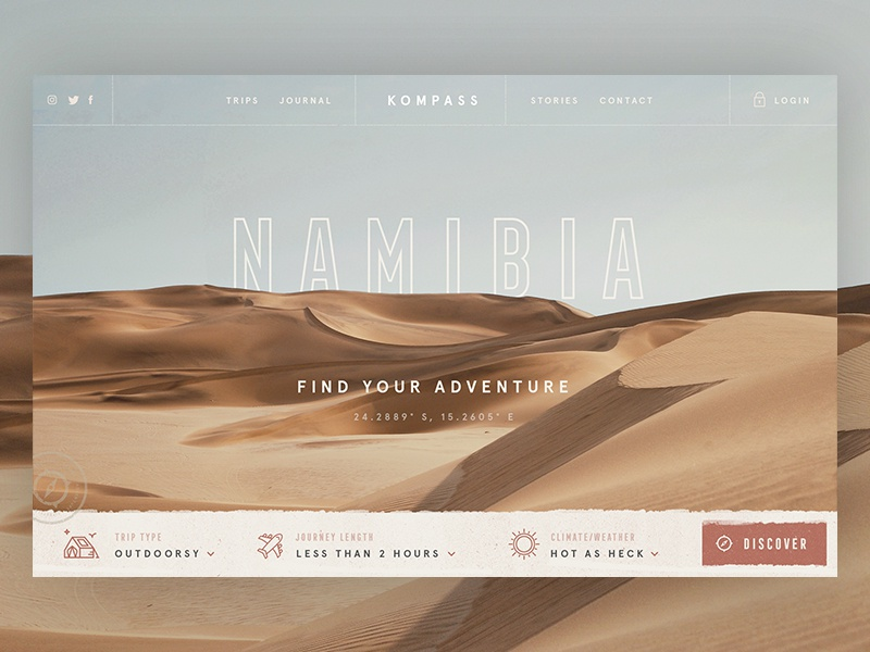 Adventure Search III / Day 21 web design texture website header sand adventure trip desert dunes ui ux branding