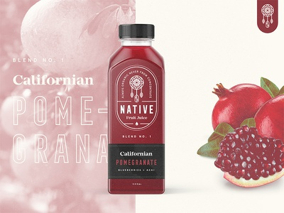 Native Juice Blend No.1 / Day 22 web design typography badge mark stamp logo juice fruit pomegranate packaging branding brand