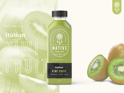 Native Juice Blend No.2 🥝 / Day 23 brand branding packaging kiwi fruit juice logo stamp mark badge typography native