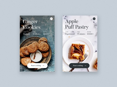 Recipe Tiles Light + Dark / Day 28 30dod interface food minimalist recipe minimal ux ui website web design