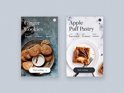 Recipe Tiles Light + Dark / Day 28 30dod interface food minimalist recipe minimal ux ui website web design
