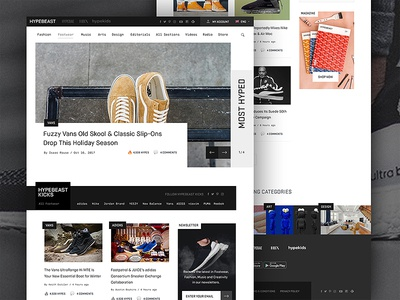 Hypebeast Pitch Concept minimal ux ui mag magazine sneakers trainers website web design concept hypebeast