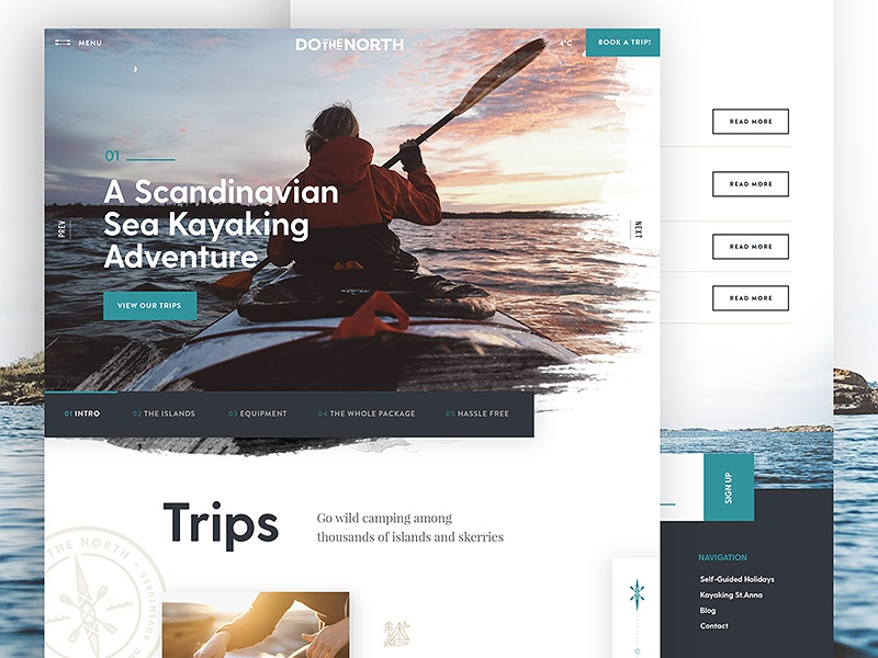 Kayaking Trip Site travel web design website header ui ux textured kayaking interface web typography water