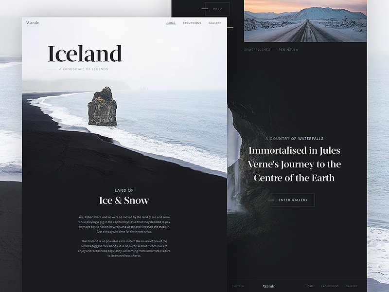Wandr: Iceland ux ui serif minimal clean nordic iceland photography interface travel web design web