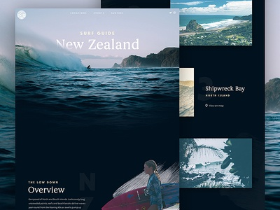 Surf Guide: New Zealand new zealand ui serif minimal clean beach surf photography interface travel web design web