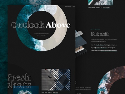 Outlook Above Landing Page branding instagram minimal one page site landing page gallery photography drone ux ui web design web