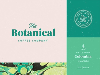 Botanical Coffee Branding branding typography type coffee vintage distressed stamp lettering logo brand