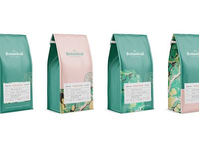 Botanical Coffee Co Packaging packaging brand logo lettering stamp vintage coffee type typography branding