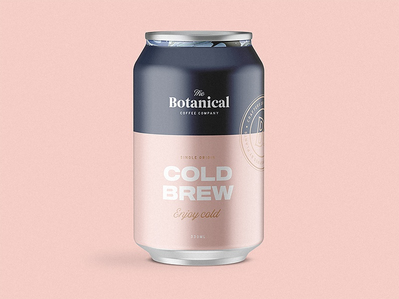 The Botanical Coffee Co Cold Brew cold brew branding typography type coffee vintage stamp lettering logo brand packaging