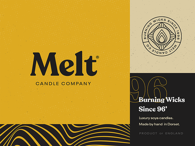 Melt Candle Co. 🕯 textured stamp typography type brand candle vintage badge logo branding