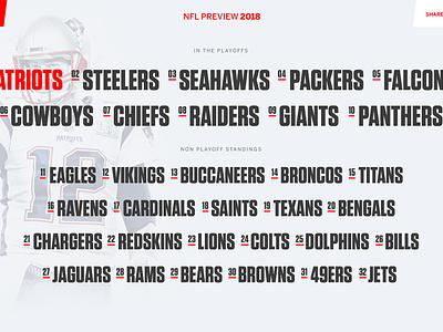 ESPN NFL Preview Screens landing page interface list listing teams duotone sport sports football clean nfl ux ui web website web design
