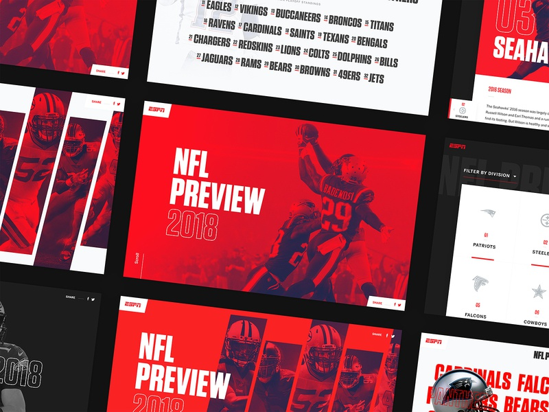 ESPN NFL Preview Screens landing page interface list listing teams duotone sport sports football clean nfl ux ui web website web design