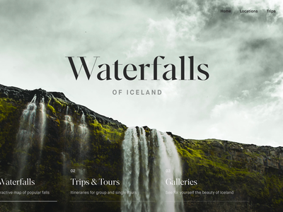 Waterfalls Scroll Distort Effect interaction clean after effects landing page animation ux interface web website ui web design