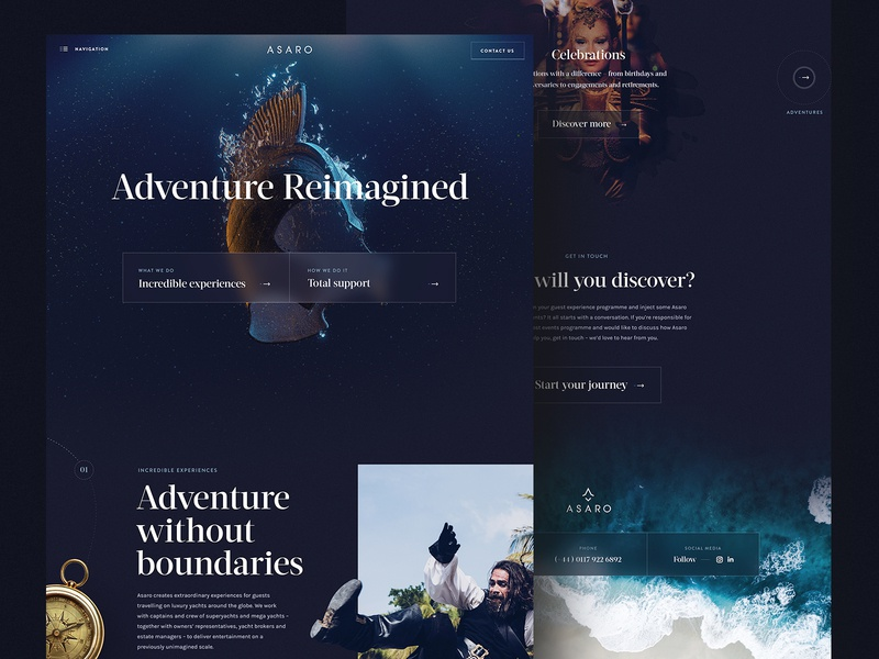 Asaro – Website Live 3d underwater luxury branding brand header interaction interface design after effects landing page animation clean ux ui web website web design