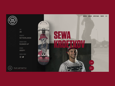 BATB 11 Concept skateboarding skateboard 3d animation 3d octane render octane c4d cinema4d typography after effects interaction landing page animation clean interface ux web website ui web design