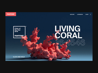 Pantone Color of the Year: Living Coral coral pantone octane x-particles cinema4d design after effects interaction landing page animation interface ux web ui website web design