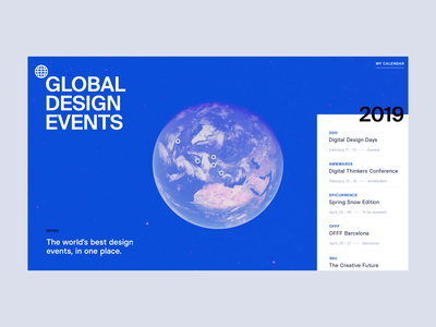 Global Design Events 🌎 earth map after effects interaction animation minimal landing page clean interface ux web ui website web design