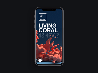 Pantone: Living Coral Mobile Interaction design clean pantone x-particles octane interaction after effects landing page animation interface ux web ui website web design