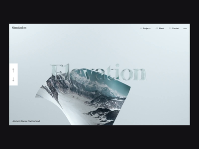 Elevation Transition webgl photography cloth x-particles octane cinema 4d after effects interaction minimal animation clean interface ux web website ui web design