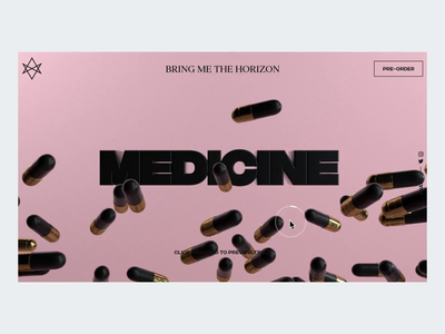 Medicine Track Preview 💊 x-particles octane cinema4d music player music after effects interaction landing page animation clean interface ux web website ui web design