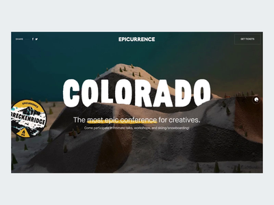 Epicurrence – Colorado Live! 🏂⛷🤙 snow parallax paper ui design epicurrence after effects interaction animation landing page clean interface web ux website web design
