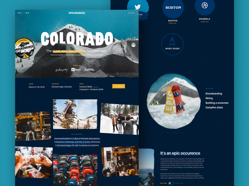 Epicurrence – Colorado ui design epicurrence interaction landing page animation clean interface ux web ui website web design