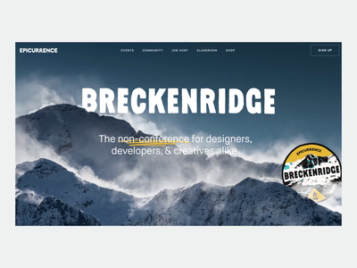 Epicurrence – Breckenridge Concept ui design typography after effects interaction parallax animation clean interface web ui website web design
