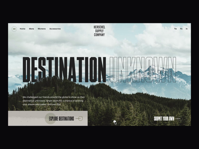 Herschel: Destination Unknown typography landing page interaction design campaign photography after effects ui design travel animation clean interface ux web website ui web design
