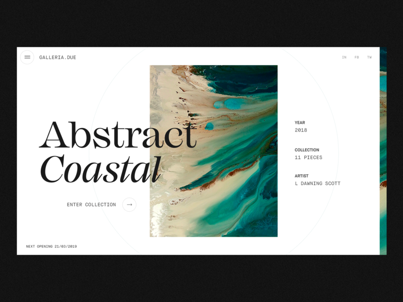 Gallerie.Due Concept type typography minimal ui design interaction art gallery clean interface ux web ui website web design