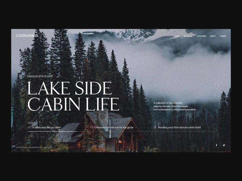 Cabin&Wild Lake Side ui design travel photography logo brand minimal after effects typography landing page branding clean interface ux web website ui web design