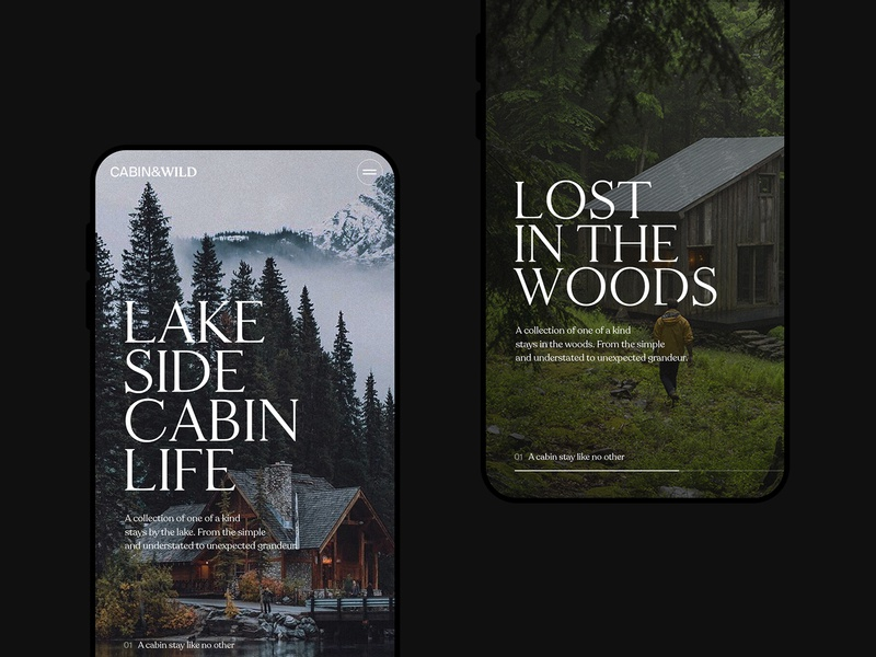 Cabin&Wild Mobile Screens photography travel clean ui design type typography mobile ui minimal interaction landing page interface ui web ux website mobile web design