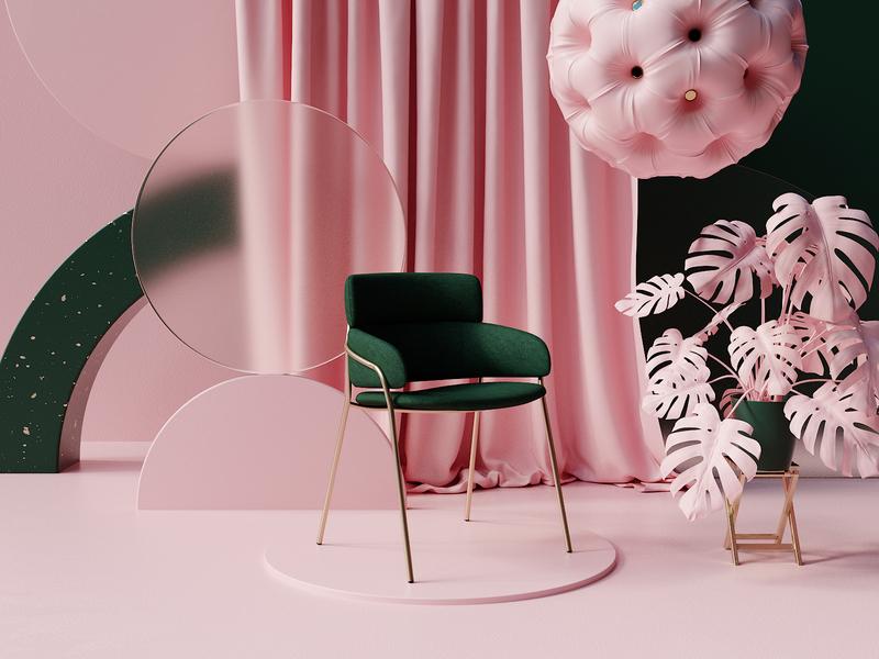 Pastel Pink Lighting & Material Study 3d artwork octane design colourful still life cinema4dart product imagery product chair render 3d c4d cinema4d