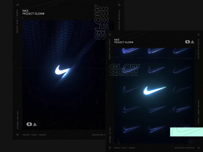 NIKE GLOW® TREATMENTS interaction design animated abstract graphics poster art graphic design typography nike glow 3d animation 3d c4d octane render cinema 4d after effects animation poster