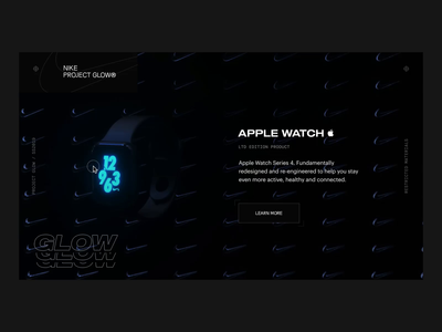 NIKE GLOW® APPLE WATCH CONCEPT watch nike ui designer interaction interaction design animator after effects octane webgl cinema4d clean animation interface ux web website ui web design