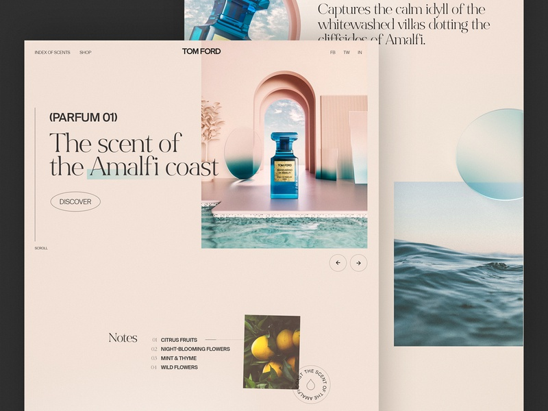 Tom Ford Web Concept ui designer ui design 3d art 3d octane render octane c4d cinema4d tom ford web designer landing page interaction branding clean interface ux web website ui web design