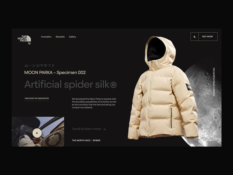 North Face x Spiber Moon Parka Concept grid moon fashion layout web designer landing page interaction branding clean ui interface ux website web web design