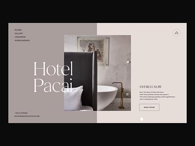 Hotel Pacai Interactions ui design animator interface animation motion graphics ui animation after effects landing page interaction branding clean animation interface ux web ui website web design