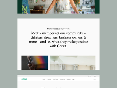 Cricut Marketing Site animation marketing scroll driven product page story telling web design 3d ui