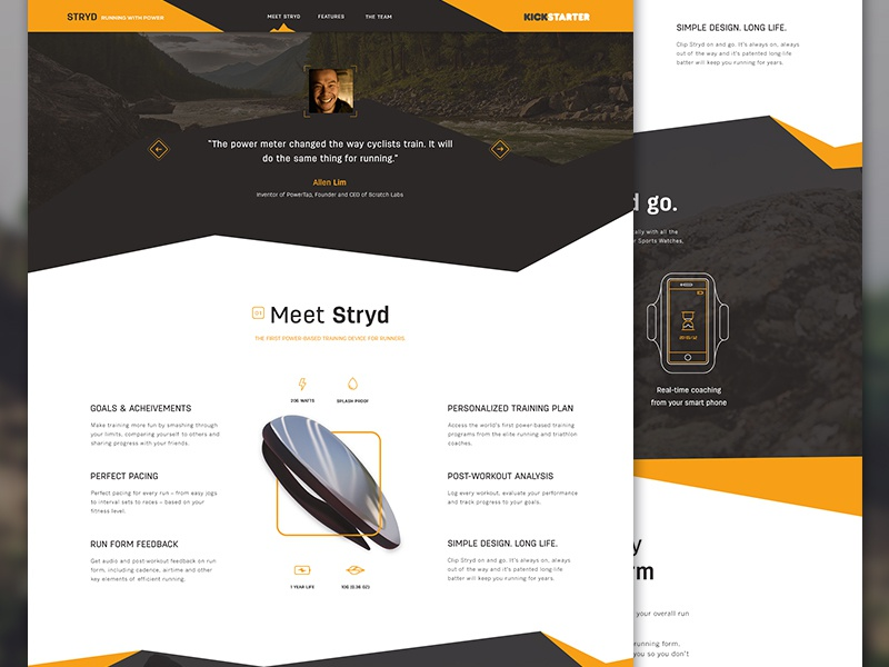 Stryd webdesign infographics icon testimonial menu clean interface ui homepage sport running outdoors