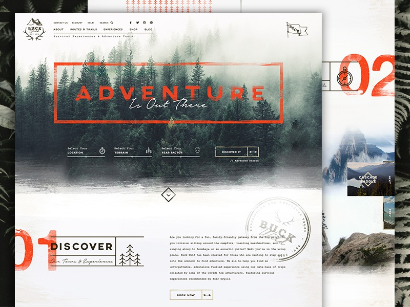 Buck Wild Concept outdoors booking adventure nature logo branding interface ui layout homepage website web