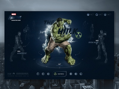 Avengers Character Guide hulk interactive buttons icons landing page web design interface ui layout homepage website web