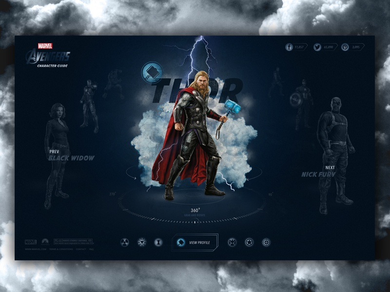 Avengers Character Guide - Thor marvel website homepage layout ui interface web design landing page icons buttons interactive thor