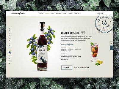 B&G Sloe Gin website ui dashboard interactive homepage landing badge stamp fruit nature bottle packaging