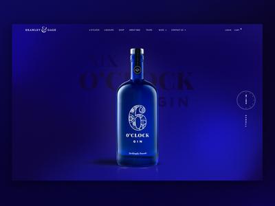 6 O'Clock Gin Landing product bottle gin logo branding interface ui layout homepage website web landing