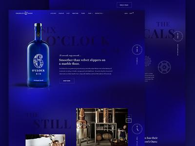 6 O'Clock Gin landing web website homepage layout ui interface branding logo gin bottle product