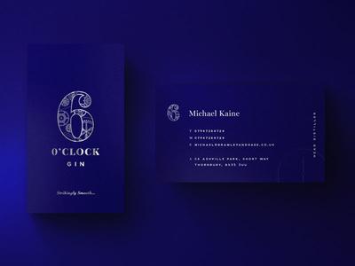 6 O'Clock Business Cards stationary gin blue foiling promotional print business cards brand branding logo