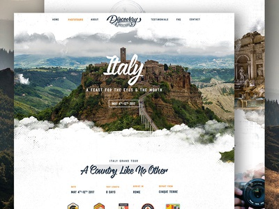 Italy Tours Page - Discovery Photo Tours travel icons outdoors adventure nature retro badge interaface ui layout homepage website