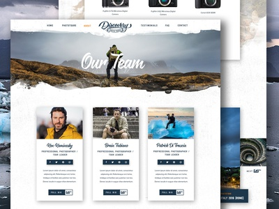 Team Page - Discovery Photo Tours travel icons outdoors adventure nature retro ui layout homepage website profile team