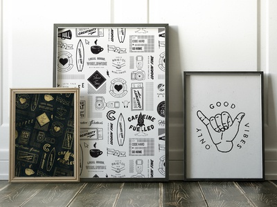 Pattern Elements Set - Good Vibes poster print repeat pattern logo badge rustic stamp vintage icon typography lettering illustration